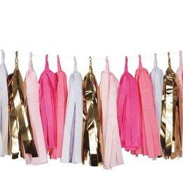 Pink gold tassels garland