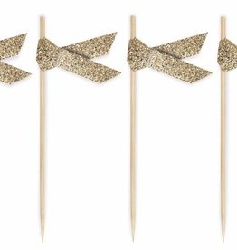 Ribbon food toppers gold glitter
