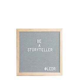 Letterbord grijs met eiken kader - Ledr