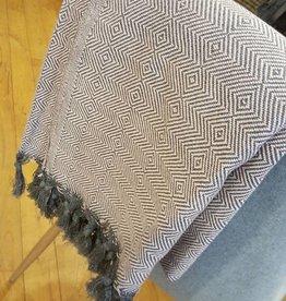 Hamamdoek Sjaal roze/grijs