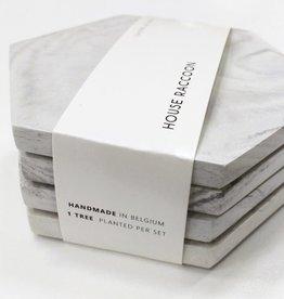 Dalbane onderzetters - White marble (Set van 4) - House Raccoon
