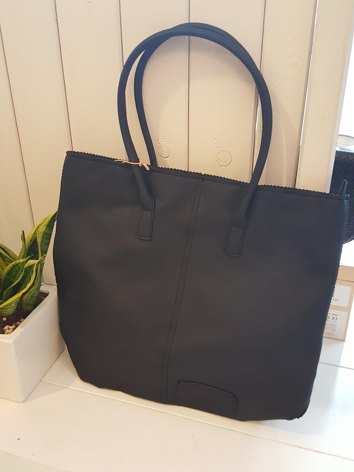 Shopper met rits - Zwart - perforatie