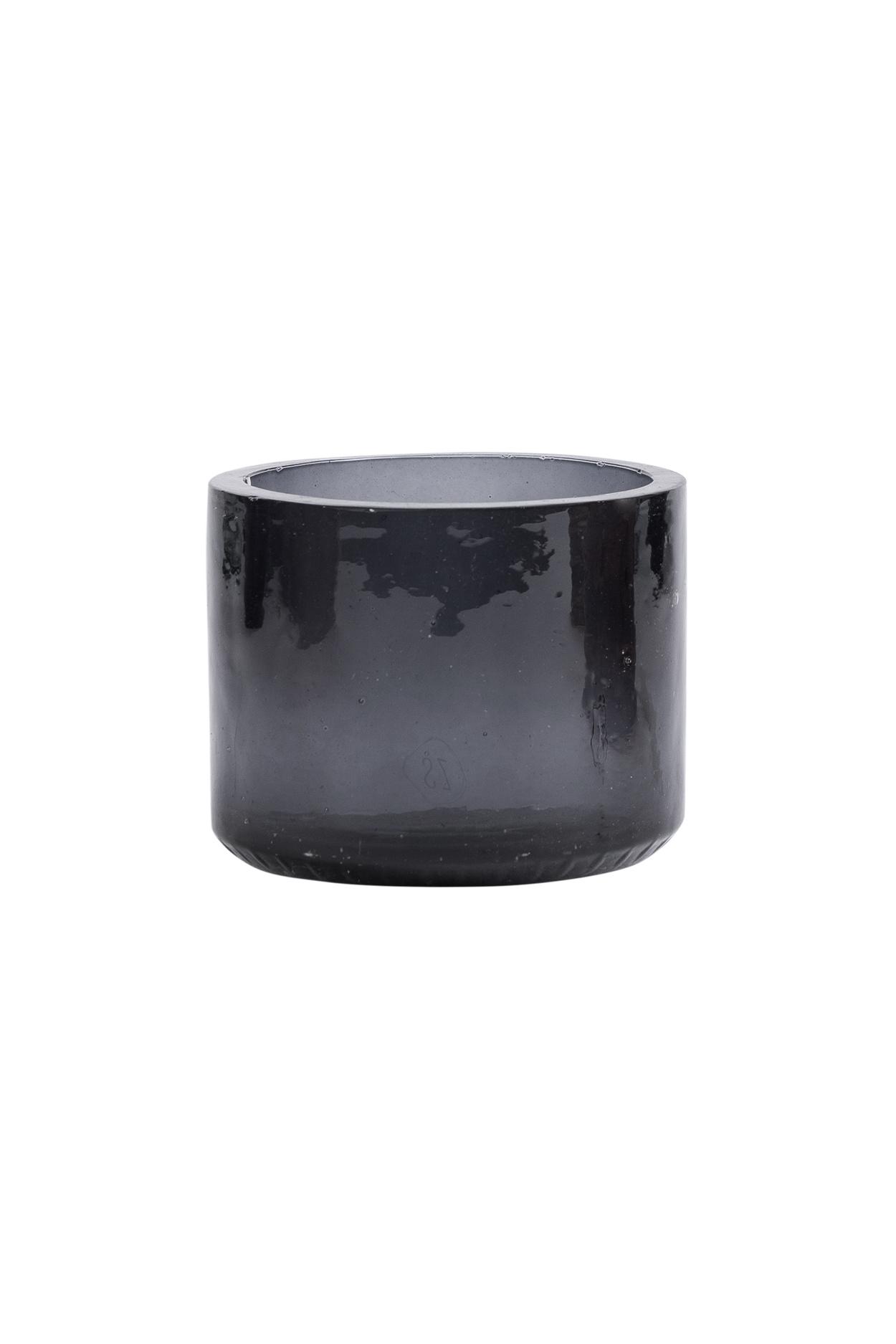 Theelichthouder gerecycled glas - Zwart - Zusss
