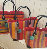 Rieten tas - Multicolor basis rood