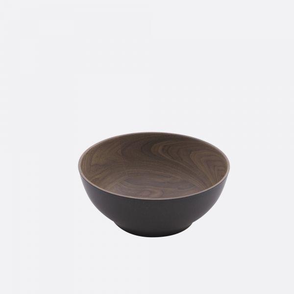 Kom 18 cm- Houtlook bruin/zwart - Point Virgule
