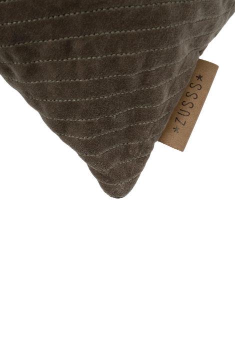 Kussen fluweel visgraat 50x30cm - grijsgroen - Zusss