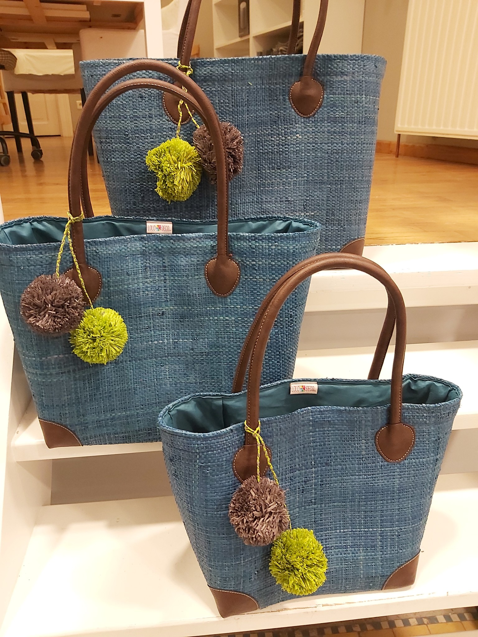 Rieten tas - Turquoise