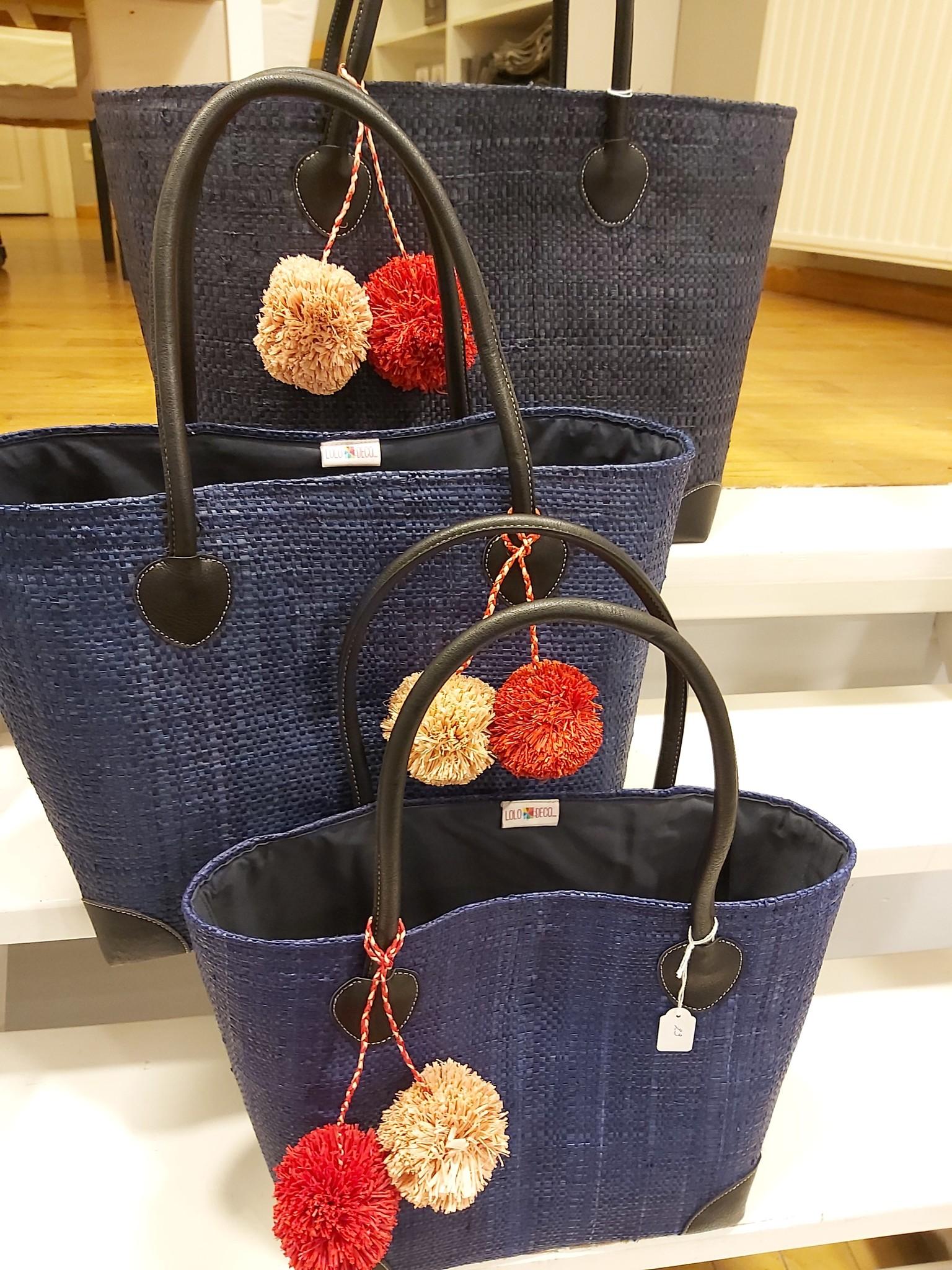 Rieten tas - Donkerblauw