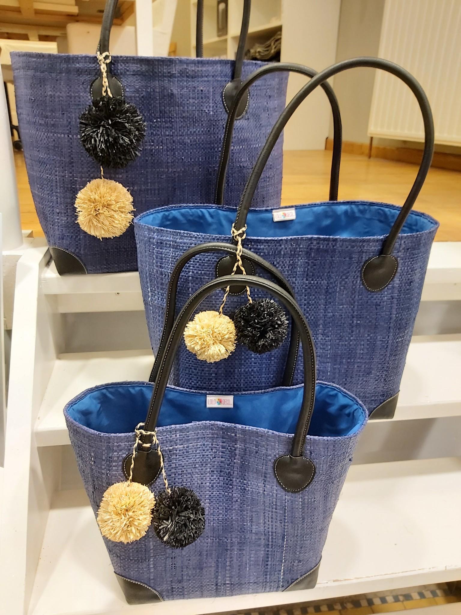 Rieten tas - Blauw