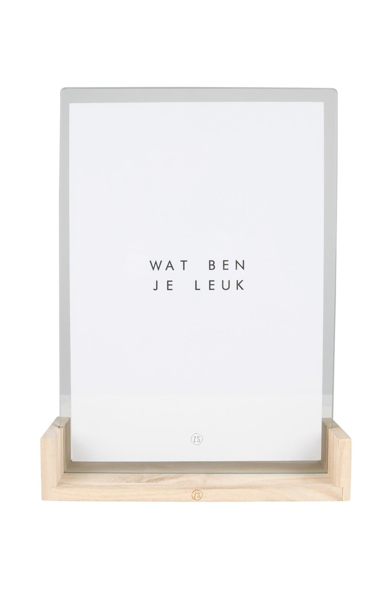 Houten fotolijst met poster A4 Leuk - Zusss