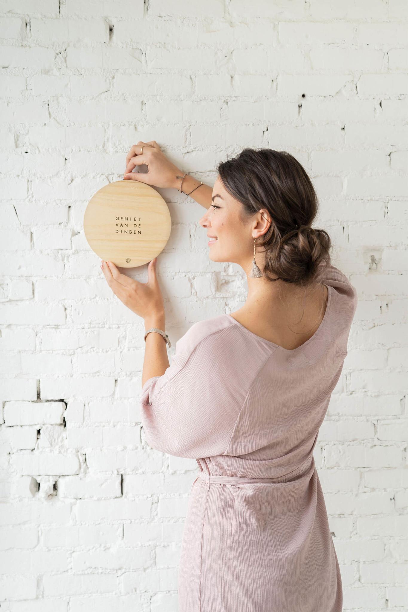 Wandbordje hout 20cm - Zusss