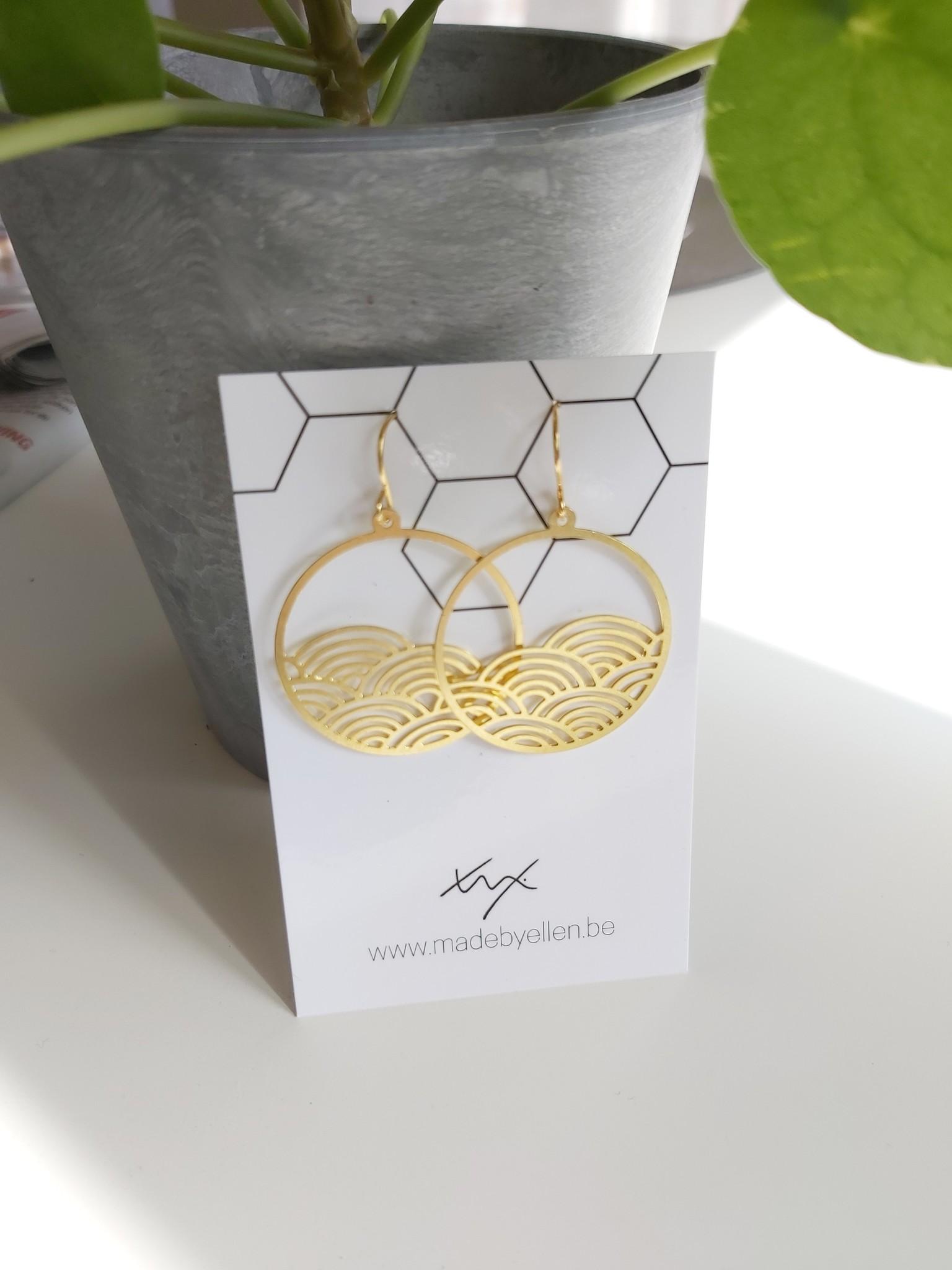 Oorbellen goud cirkel golven