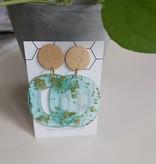 Oorbellen goud turquoise breed ovaal