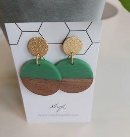 Oorbellen hout cirkel groen