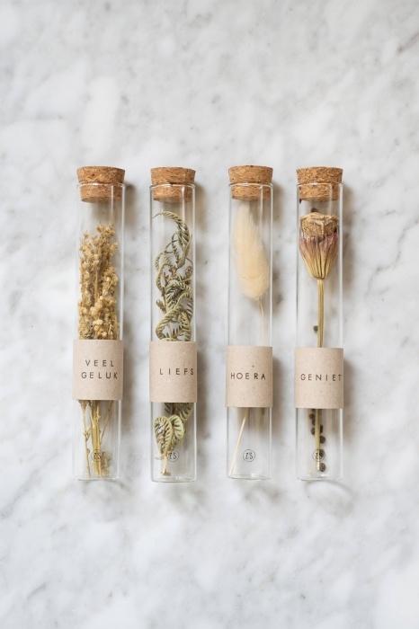 Droogbloem in glazen buisje -diverse- Zusss