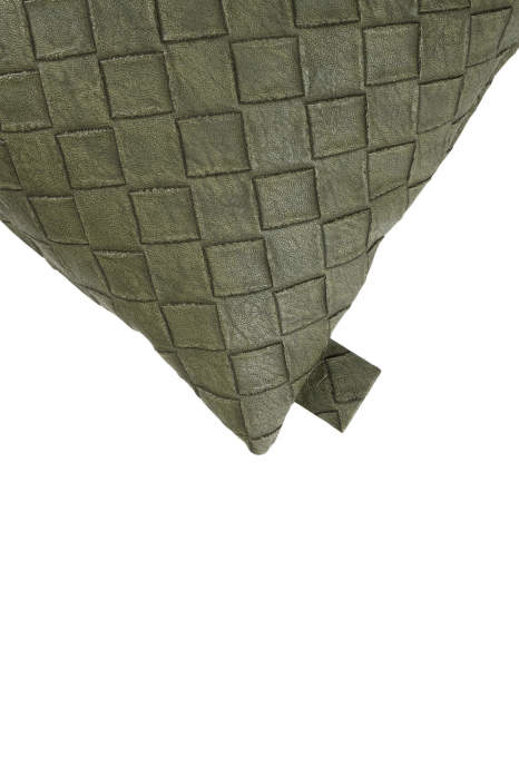 Kussen leer gevlochten groen 45x45cm Zusss