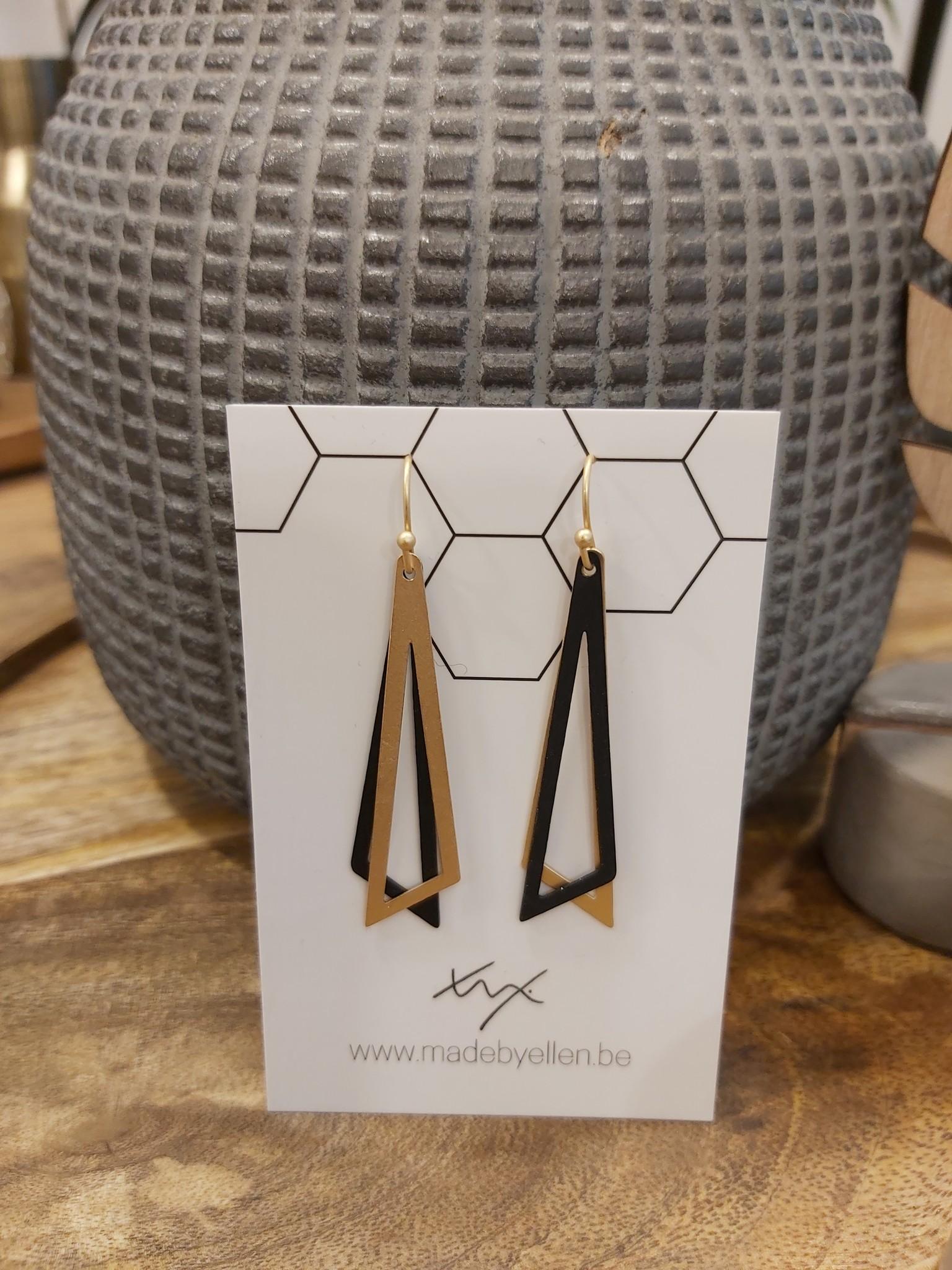 Oorbellen dubbel driehoek zwart/goud