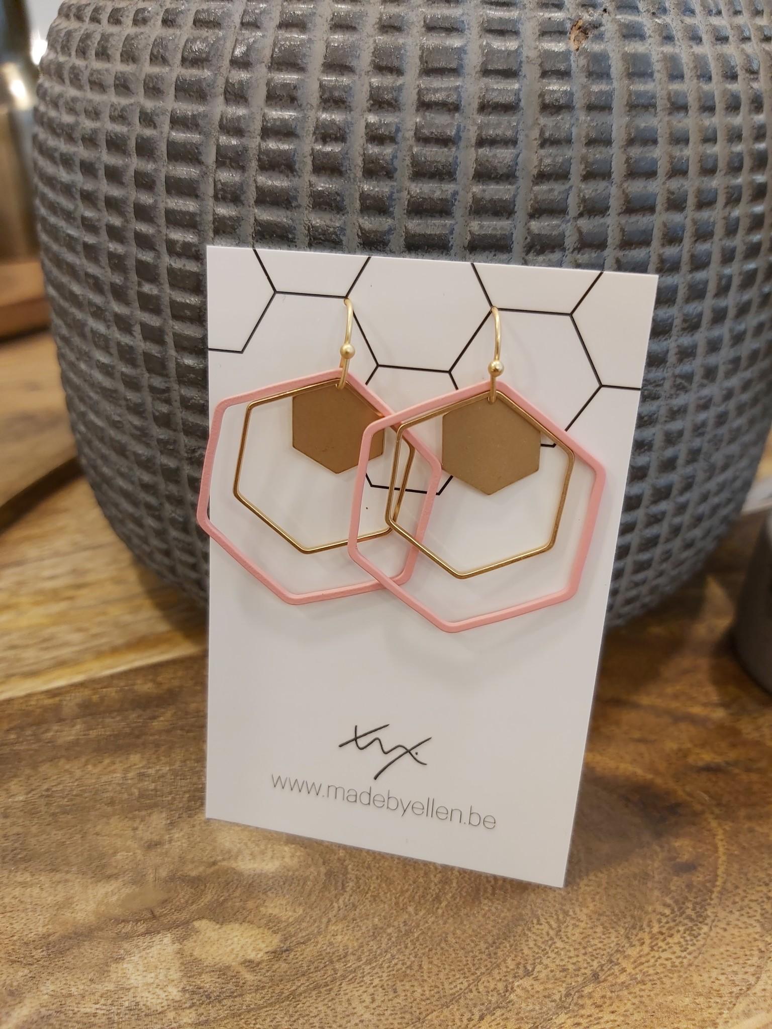 Oorbellen zeshoeken goud/roze