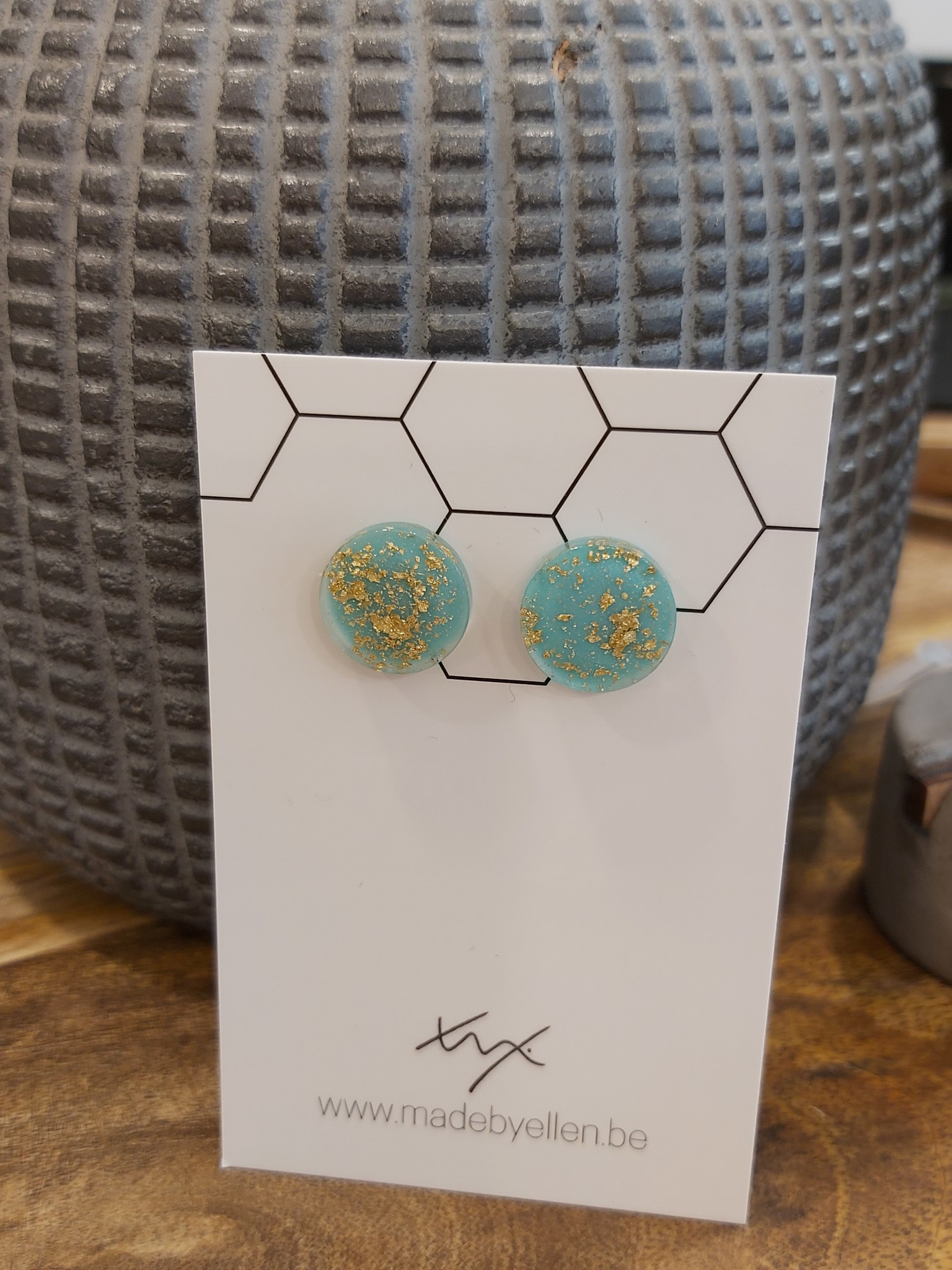Oorstekers goudfolie turquoise
