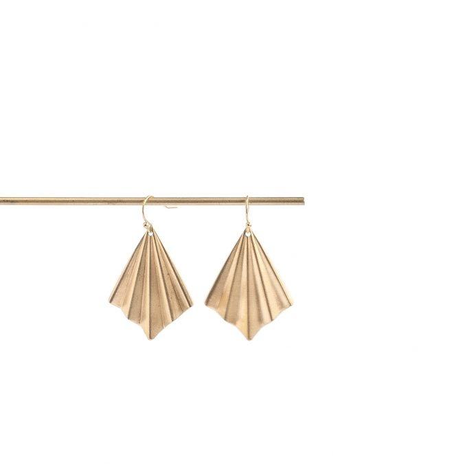 Oorbellen Brass artdeco dangles Inimini Homemade