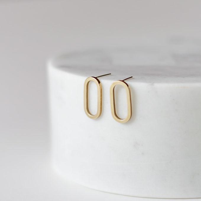 Oorbellen Brass flat ellips studs Inimini Homemade