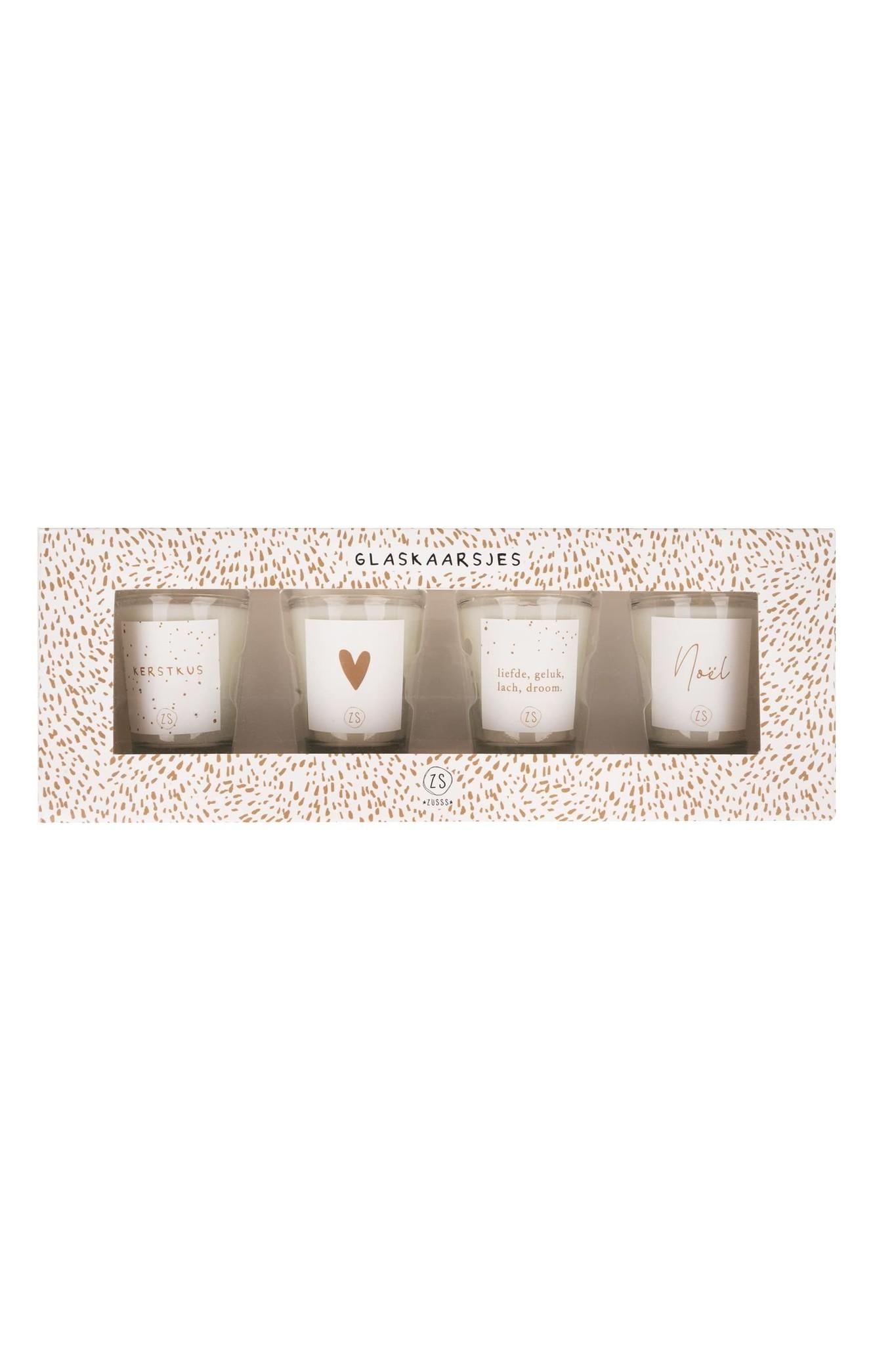 Set van 4 glaskaarsjes kerst wit Zusss