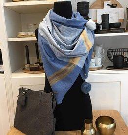 Sjaal met pompons - Blauw