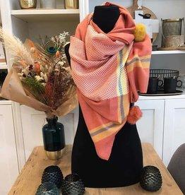 Sjaal met pompons - Oranje