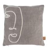 Kussen gezicht warm grijs 45x45 Zusss