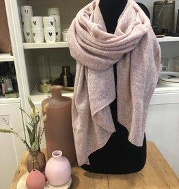 Warme brei sjaal poederroze Zusss