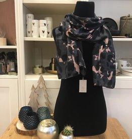 Sjaal met print zwart Zusss