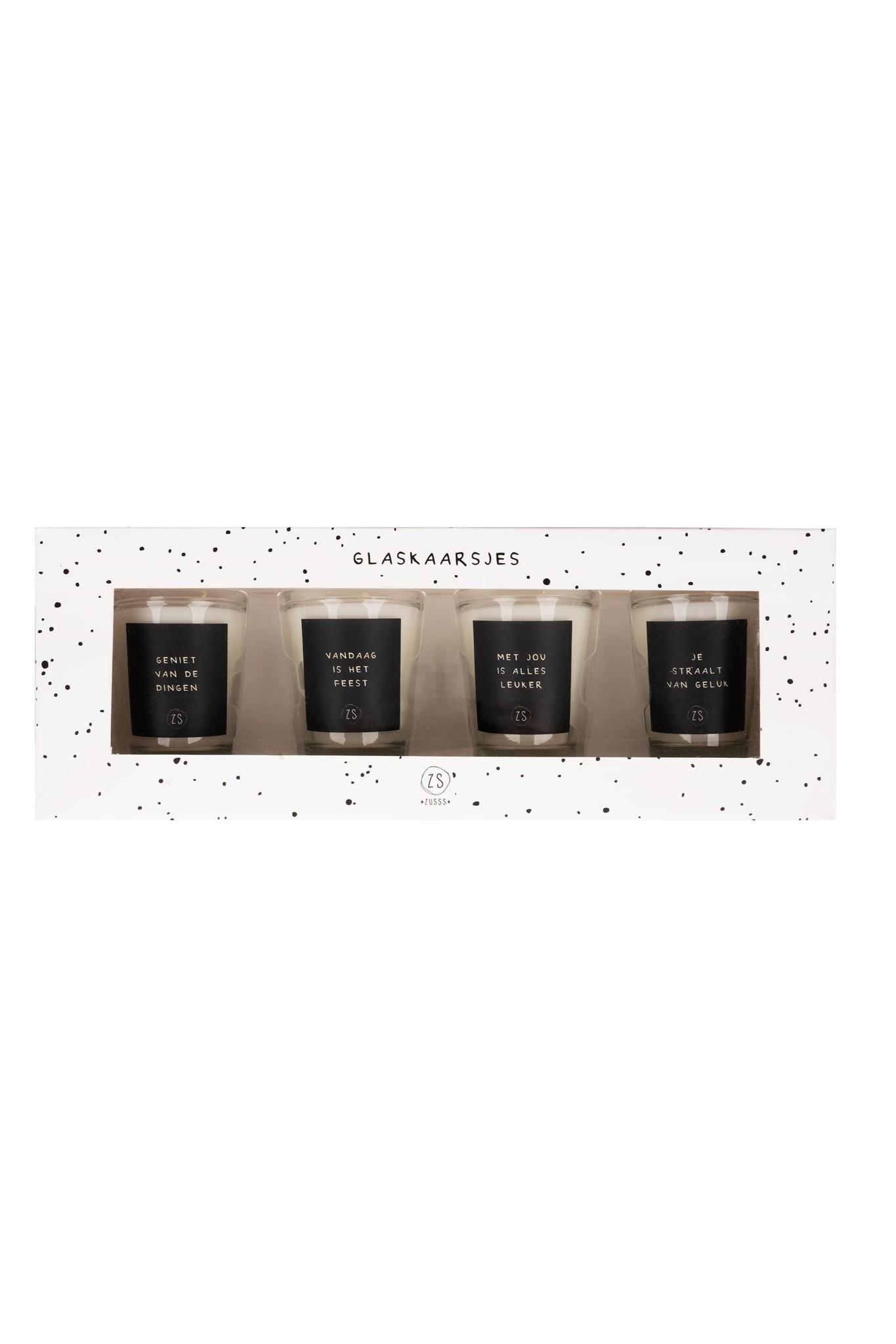 Set van 4 glaskaarsjes zwartZusss