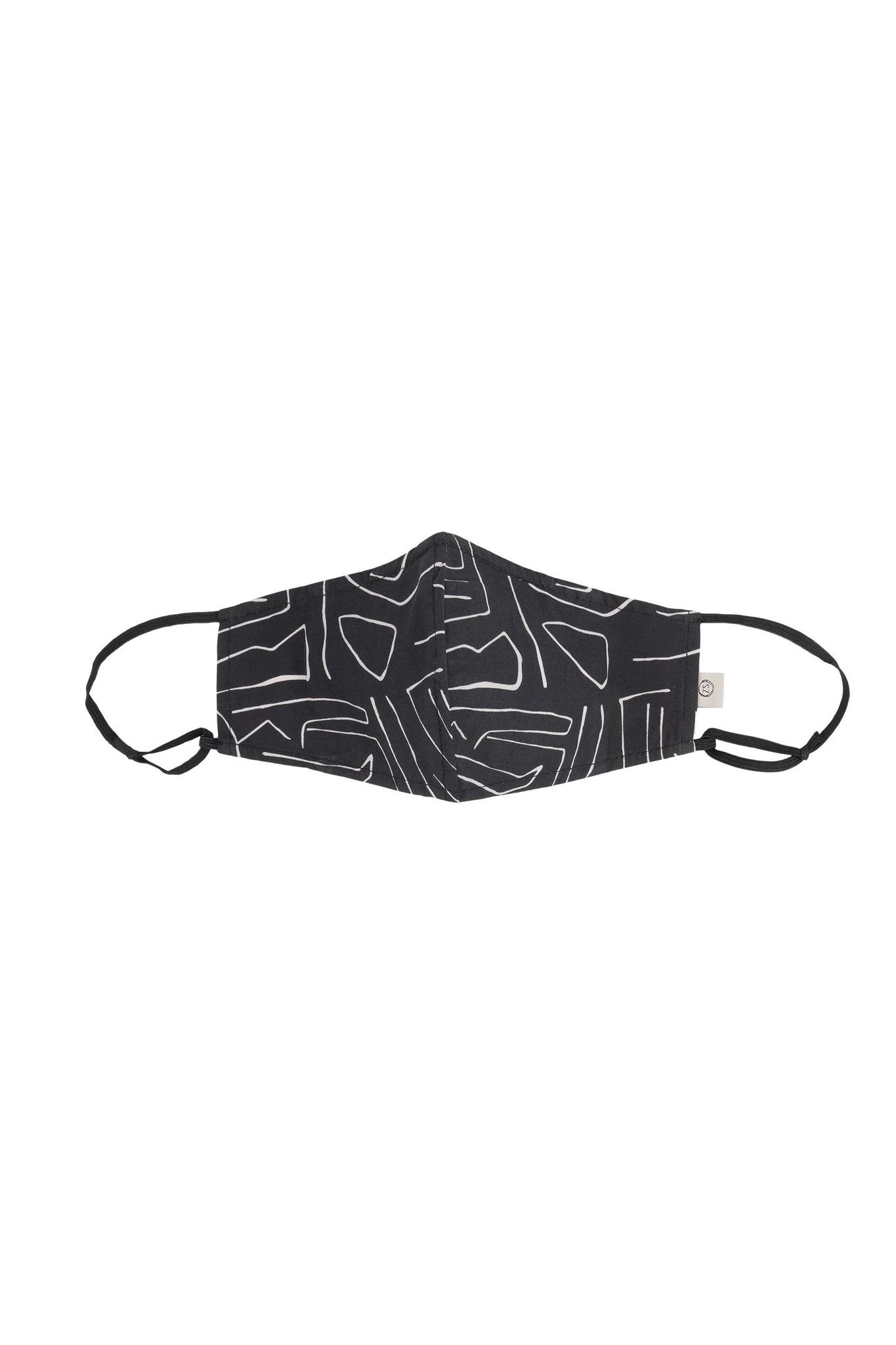 Zwart mondmasker met safariprint Zusss