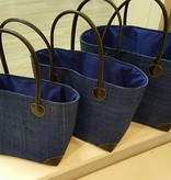 Rieten tas - Royal blauw