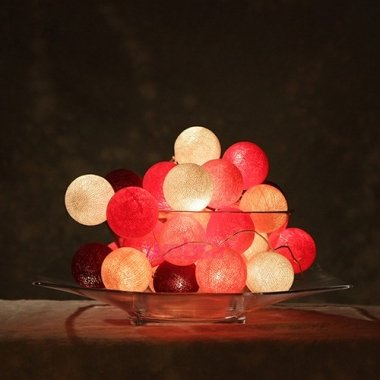 Cotton Ball Lights - Pink