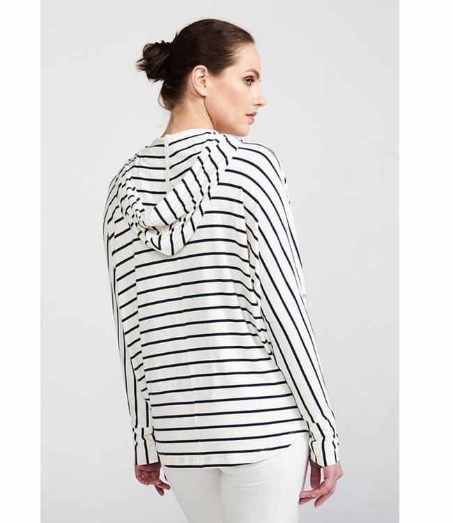 Asquith Mellow Yoga Hoody Stripe - Navy/Ivory