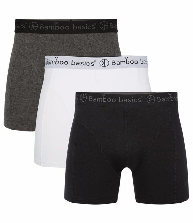 Bamboo Basics Bamboe Boxershorts Rico (3-pack) - Zwart/Wit/Grijs