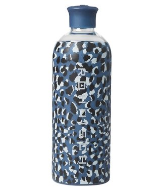 Rohnisch Drinkfles Glas 550ml - Dusty Blue Spot