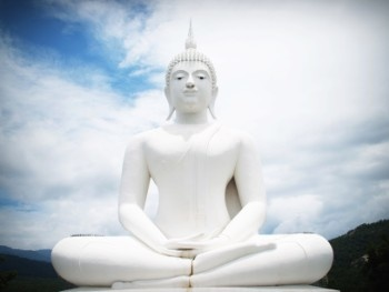 witte Boeddha in de natuur