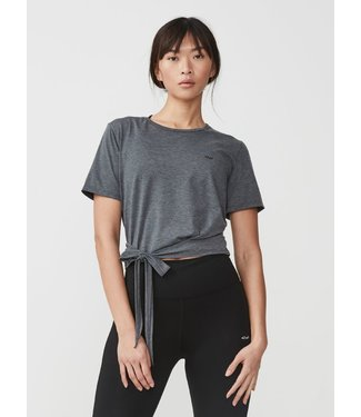Rohnisch Yoga Top Wrap Tee - Dark Grey Melange