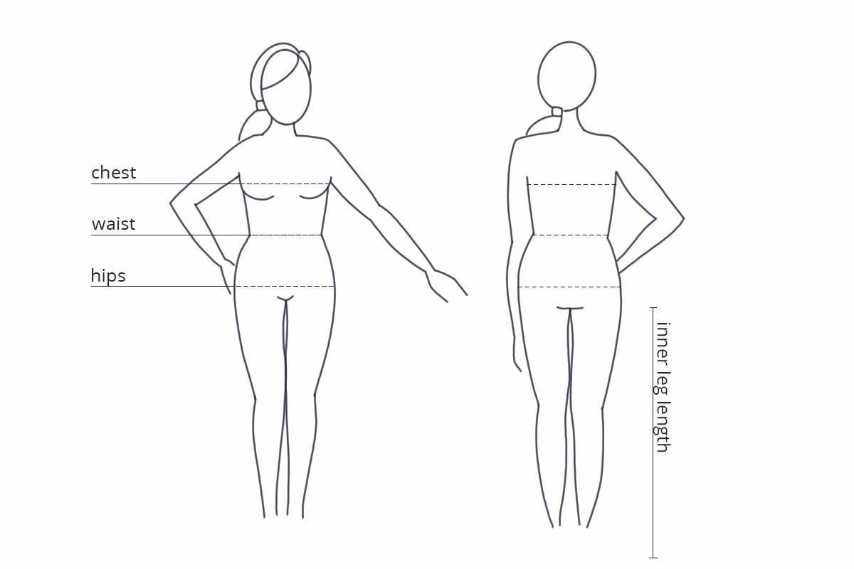 Size chart Urban Goddess - lichaam opmeten