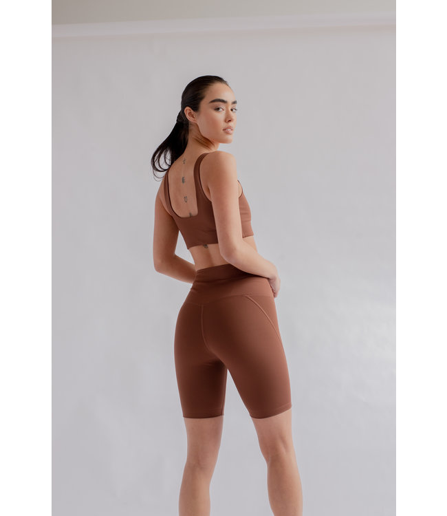 Girlfriend Collective High-Rise Yoga Shorts - Earth