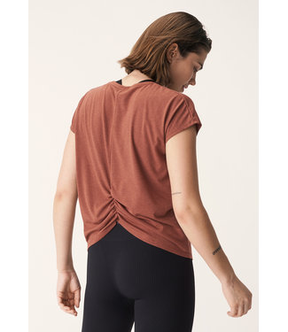 Rohnisch Split Back Yoga Shirt - Copper Brown