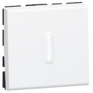 Legrand Mosaic wisselschakelaar met Led-verklikker, wit 10A (2 modules)