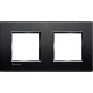 Bticino Afdekplaat 2 x 2 mod LivingLight horizontaal antraciet
