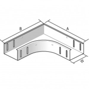 Horizontale bocht Kabelbaan 60 x 75mm