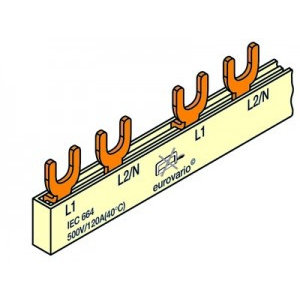 FTG Kamgeleider/aansluitrail 2 polig met vorken 24 modules - 10mm