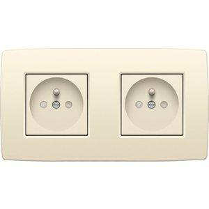 Niko Dubbel horizontaal stopcontact compleet Cream 100-66602