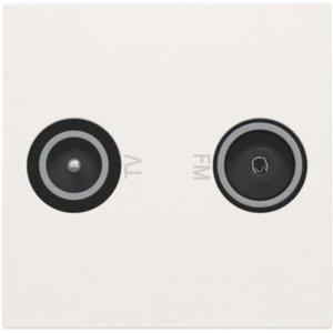 Niko Coax-aansluiting 2x enkelvoudig EDU tv + FM Interkabel, 45x45mm, wit