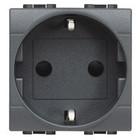 Bticino Livinglight Stopcontact Shuko, antraciet